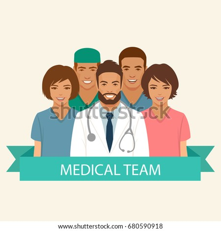 medical team, doctor nurse and surgeon staff, hospital health  profession people group, vector flat illustration