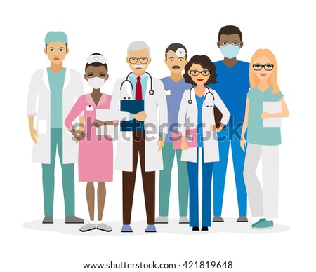 Medical team. Group of hospital workers vector illustration