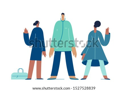 Medical team, medical insurance, specialists visit. Vector illustration flat design. Use in Web Project and Applications.
