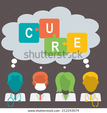 Medical team searching for solution for a disease doctor nurse surgeon with speech bubbles