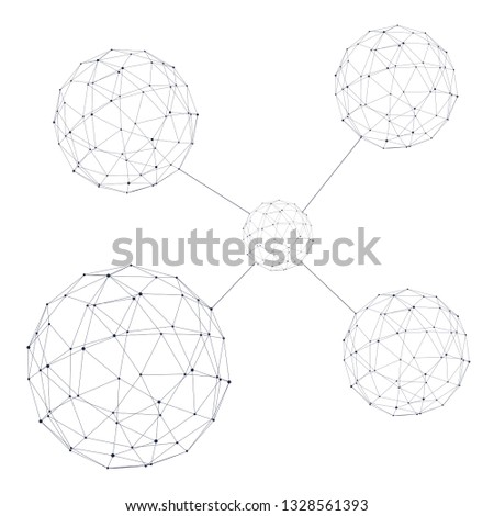 Medical, technology, chemistry and science icon design template. Molecule and communication background. Connected lines with dots.