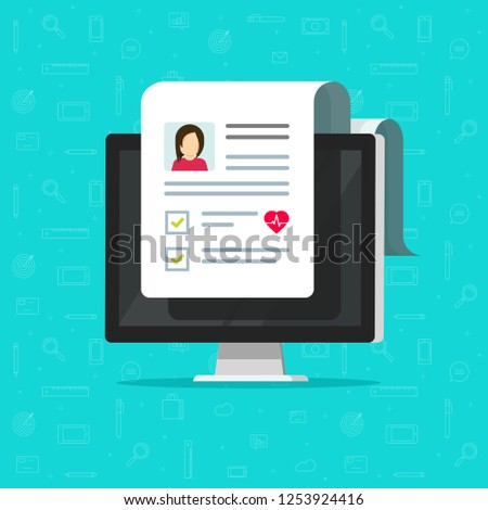Medical test results document on computer vector icon, pc with online healthy electronic checklist results from, concept of on-line medicine, medical record data, internet diagnosis or personal