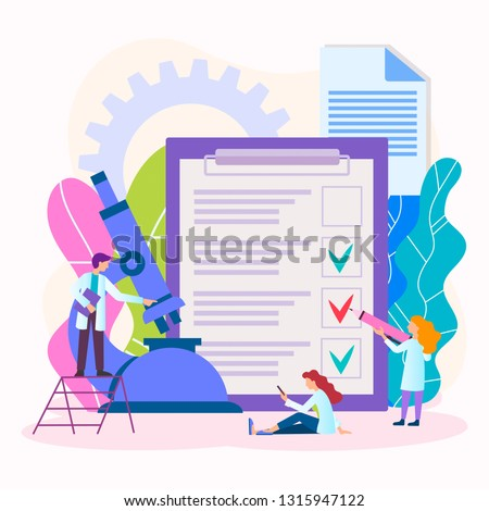 Medical Tests Analisis Concept. Doctors do laboratory tests. Vector illustration for banners, social media, posters.