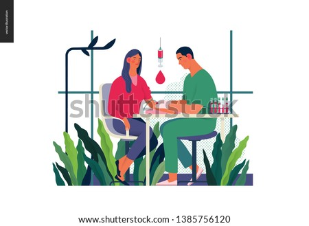 Medical tests illustration - blood test - modern flat vector concept digital illustration of blood test procedure - a patient and doctor with a syringe and test tubes, the medical office or laboratory
