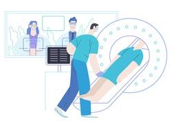 Medical tests illustration - MRT - magnetic resonance tomography - modern flat vector concept digital illustration of MRI procedure - a patient in the scanner and doctor, medical office or laboratory