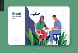Medical tests template - blood pressure test - modern flat vector concept digital illustration of blood pressure measurement procedure - a patient and doctor with a meter, medical office or laboratory