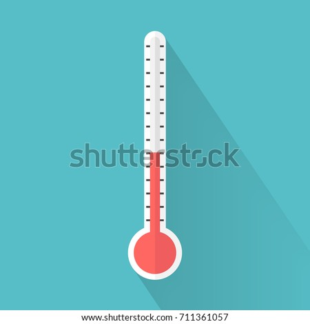 Medical thermometer icon with long shadow. Flat design style. Medical thermometer silhouette. Simple icon. Modern flat icon in stylish colors. Web site page and mobile app design element.