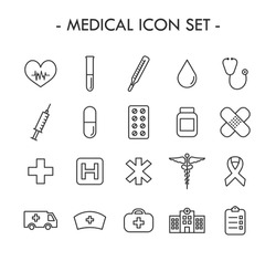 Medical thin line icon set with editable stroke. Health care icons. Medicines, medical supplies... Simple design - outline colection. Vector illustration.