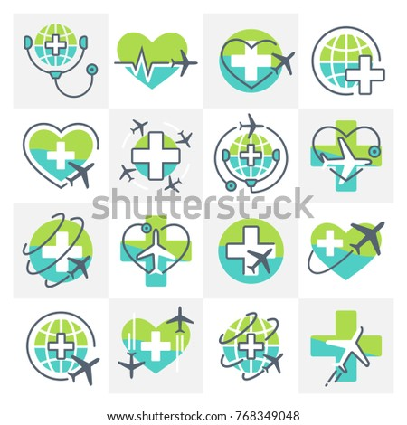 Medical Tourism Icons Signs Set with Airplane Cross Heart and Globe