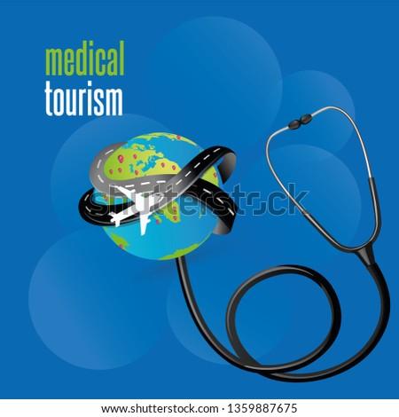 Medical Tourism - medical background, vector illustration about medical travel abroad