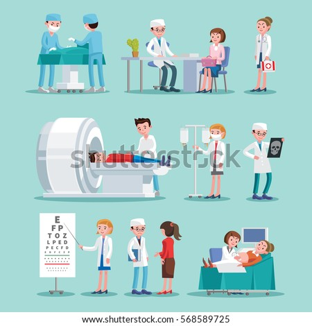 Medical treatment icons set with doctors nurses consultation surgery and different diagnostic procedures isolated vector illustration