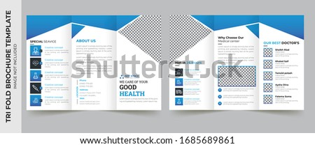 Medical tri fold brochure template Layout design. Corporate business template for try fold brochure or flyer. Layout with modern elements and abstract background. Creative concept folded flyer or broc Foto stock ©