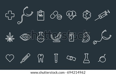 Medical vector icons. One line style