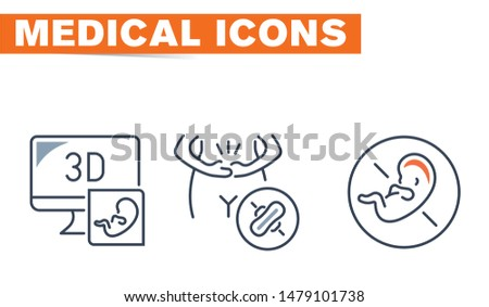 Medical Vector Icons set, sign and symbols in flat design medicine and health with elements for mobile concepts and web apps. Collection modern infographic logo and pictogram. - Vektör