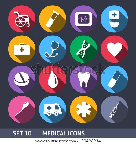 medical vector icons with long