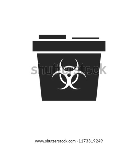 Medical waste container silhouette icon. Clipart image isolated on white background