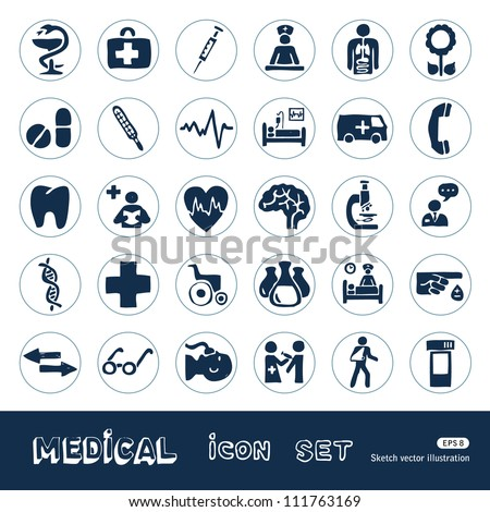 Medical web icons set. Hand drawn sketch illustration isolated on white background