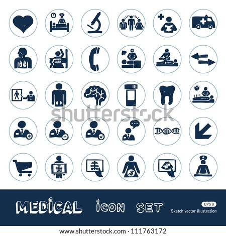 Medical web icons set. Hand drawn sketch illustration isolated on white background