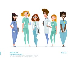 Medical Women Characters in Standing Pose. Special Uniform Design.