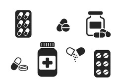 medicament icon set. isolated vector pharmaceutical and treatment symbols. simple style medical design elements