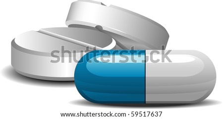 Medicament: two pills and capsules over white