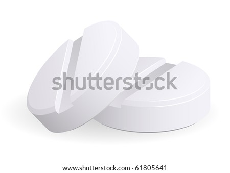 Medicament: two pills over white. Vector. EPS10 - stock vector