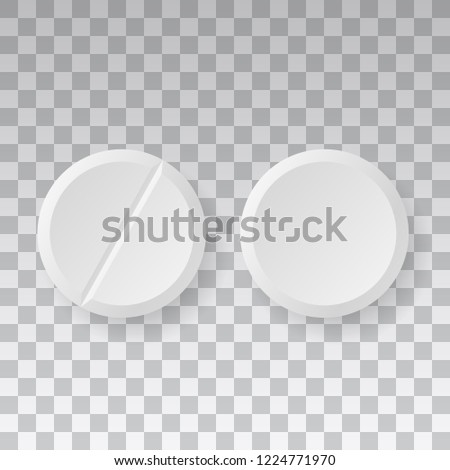 Medicaments top view vector of two white circular pills on transparent background. #1224771970