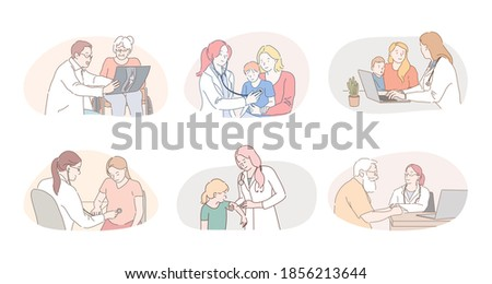 Medicare, healthcare, therapists, paediatricians working concept. Professional doctors therapists and pediatricians cartoon characters consulting and curing patients in medical clinics during visits