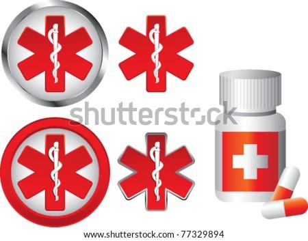 Medication bottle and caduceus symbols