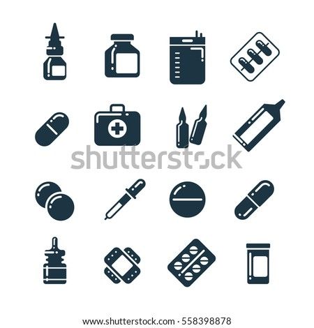 Medication pharmacology pills, tablets, medicine bottles vector icons