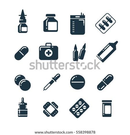 Medication pharmacology pills, tablets, medicine bottles vector icons