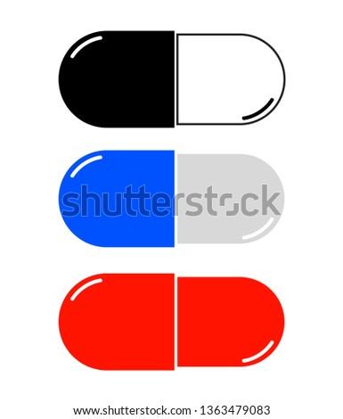 Medicinal capsules vector. Pills icon. Medicine  Foto d'archivio ©