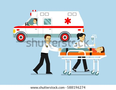 Medicine ambulance concept in flat style isolated on blue background. Young doctor paramedic man and woman, ambulance car and patient on stretcher