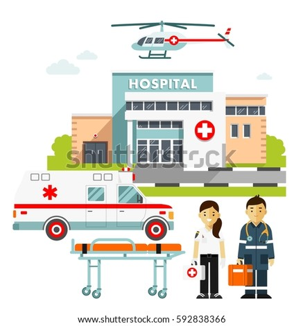 Medicine ambulance concept in flat style isolated on white background. Hospital building, young doctors man and woman, paramedic ambulance car and medical helicopter