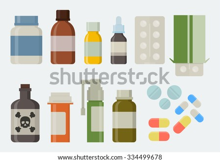 medicine and drugs icon set in