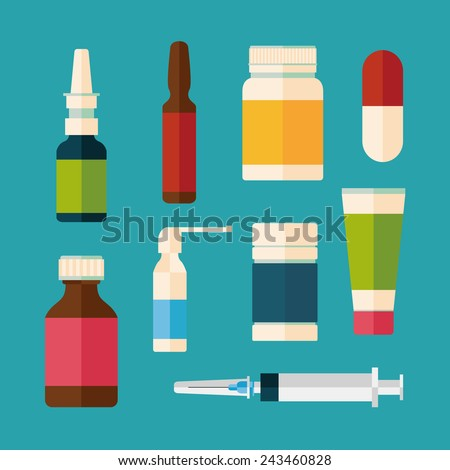 medicine and drugs icons set