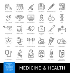 Medicine and health. Big set of vector linear web icons. Collection of modern simple outline symbols. Medical equipment, medicaments, laboratory, clinic. Emergency, ambulance.