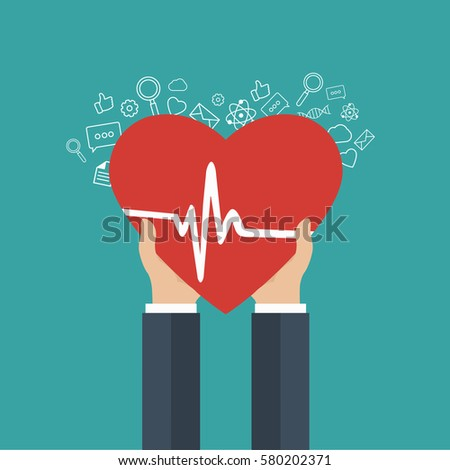 Medicine and health care icon. Hands holding heart with pulse sign. Flat vector illustration.