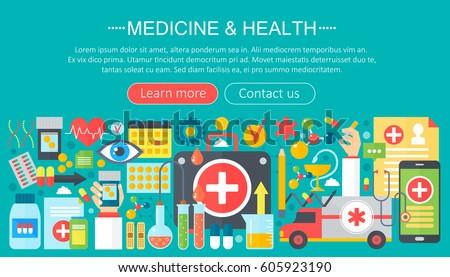 Medicine and health design concept set with healthcare medicine devices infographics template design, web header elements, poster banner. Vector illustration.