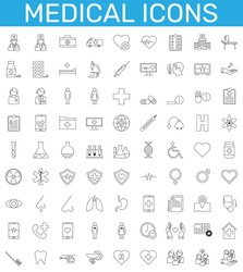 Medicine and health symbols - minimal set of thin line web icons. vector illustration.