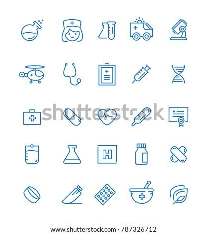 Medicine and Health symbols - Outline web icon set