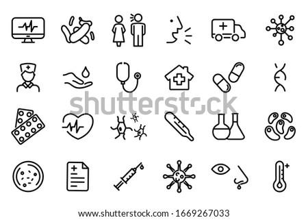 Medicine and Health symbols - Outline web icon set. Bacteria, Virus Vector Line Icons. Coronavirus icons, symptoms, transmission, prevention, treatment. Epidemic Coronavirus