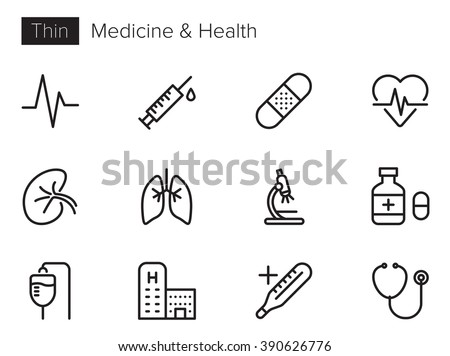 Medicine and Health Vector icons set Thin line outline