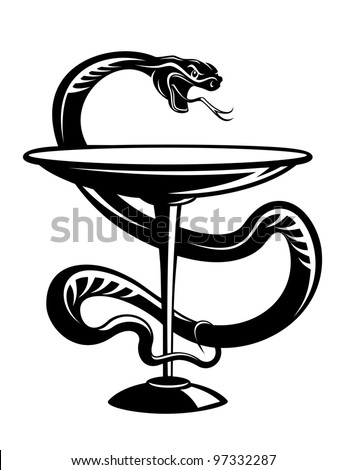 Medicine and pharmacy snake symbol isolated on white background, such  a logo. Jpeg version also available in gallery