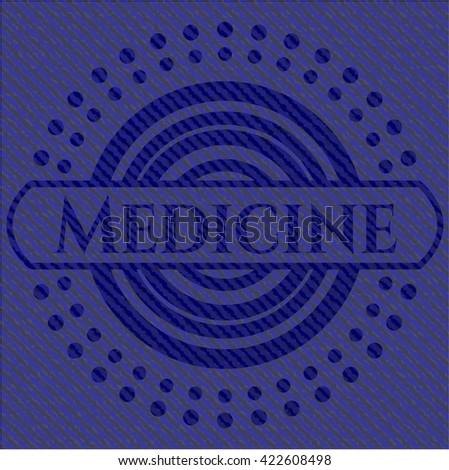 Medicine badge with denim texture