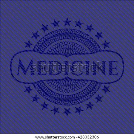 Medicine badge with jean texture