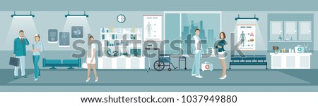 Medicine banners, doctors and hospital interiors health service room, people in the medical center vector