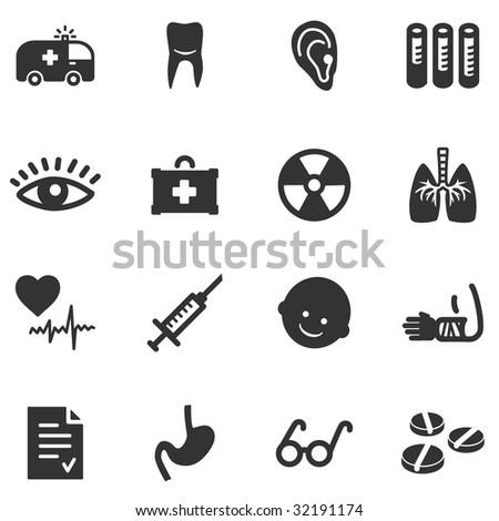 Medicine black web icons - stock vector