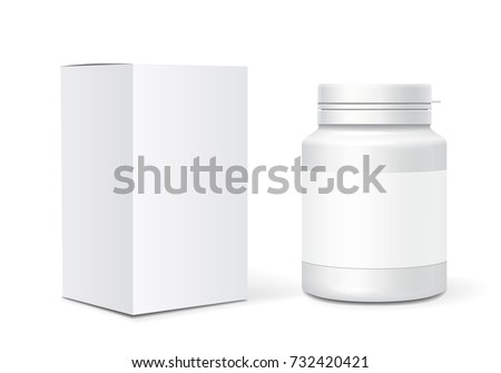 Medicine blank plastic bottle, cardboard packaging box. Realistic vector