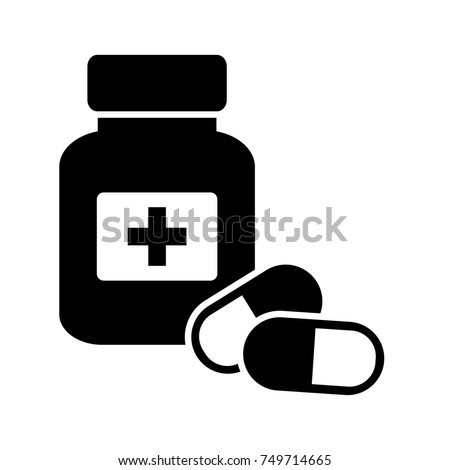 Medicine bottle and pills. Black and white icon. Vector illustration